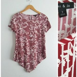 Sami & Jo Striped Floral Short Sleeve Top Small